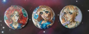 Buttons Tempestmoon, Aqua, Cerberus by MTToto