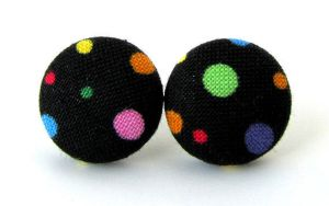 Stud earrings black bright dots circles by KooKooCraft