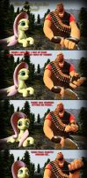 Heavy Tells His Sad Story To Fluttershy by Cowboygineer