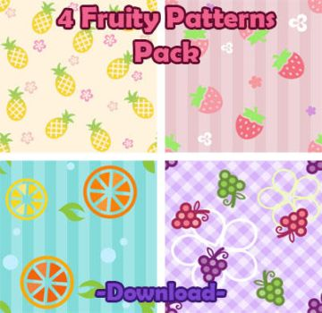 4 Cute Fruity Patterns Pack by sosogirl123