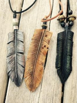 3 Leather feathers by Oblivionleather76