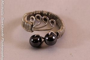 Wire Wrapped Hematite Ring by designsbymishi