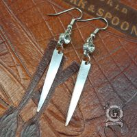 Silver Fork Tine Earrings with Crystals by Doctor-Gus