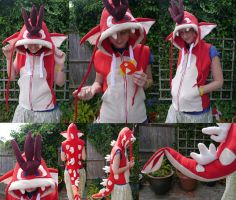 Red Gyrados Hoodie by TrafficConeCreations