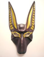 Anubis Leather Mask in dark reddish brown by teonova