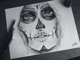 Day of the Dead drawing by KEATONdesigns