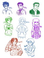 KR - Various unmasked Riders by Malunis
