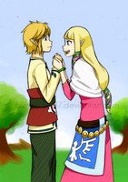 Link and Zelda by AntiqueCrown