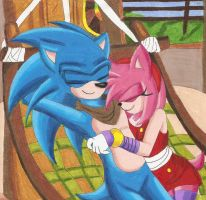 SonAmy Boom: Sleepy Lovers by GothNebula