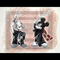 Harry Potter Mickey and Donald by evermoretoons