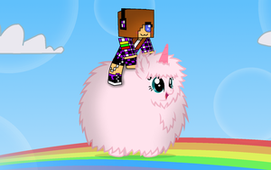 Riding Pink Fluffy Unicorn Dancing On Rainbows by ertyez