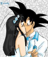 Goku and Chichi: Wedding Kiss by gwendy85