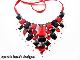 Red and Black Gem Bib Necklace by Natalie526