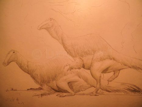 Deinocheirus mating sketch by Lucas-Attwell