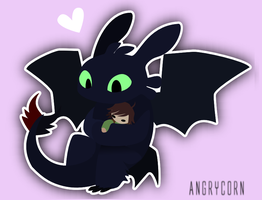 .:Chibi Toothless:. by angrycorn