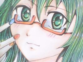 Megpoid Gumi With Red Glasses by Sherlyana