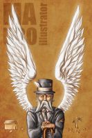A very old man with enormous wings by MauroIllustrator