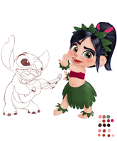 Vanellope and Stitch (WIP) by artistsncoffeeshops