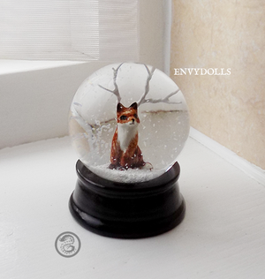 : mini kitsune snowglobe : by BastardPrince