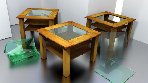 A wooden living room table with a glass top by DennisH2010