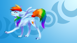Rainbow Dash wolf wallpaper by AvareQ