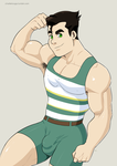 Bolin showing off! ....on his swimsuit! :P by charlietooga