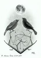 Drawing - 'The Night Watchers' by MarinaPalme