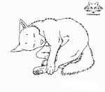 Free Lineart Sleeping Wolf by Cristaleyes