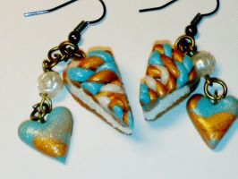 Earrings - blue cake slices by sississweets