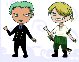 Sanji the Swordsman and Master Chef Zoro by sliferbenten