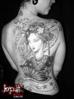 Geisha tattoo back piece by BPS-TATTOO