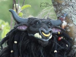 Bron the tauren shaman doll - closeup by BeastVoodoo