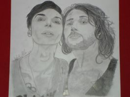 Andy Biersack and Danny Worsnop black and white by xxdaswarwohlnix