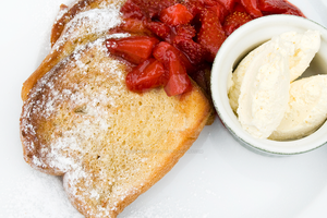 French Toast with Strawberries and Cream by iconsPhotography