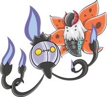 Chandelure and Volcarona by jorgextravaganza
