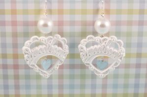 White True Sweetheart Earrings by PeppermintPuff
