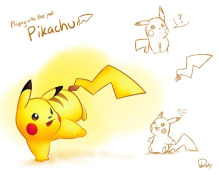 Playing with the pad - Pikachu by CluelessDanny