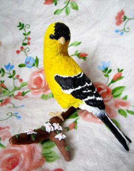 Paper Mache Goldfinch by MeadowDelights