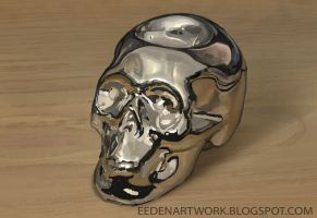 Chrome-skull still-life by Eedenartwork