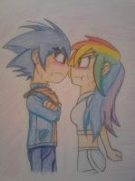 Sonic and Rainbow Dash: Up Close and Personal by solarsonic21