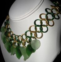 Green n Yellow Leaf Necklace 2 by kinyo-spoons