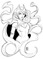 Scarlet Witch Lineart by AberrantKitty