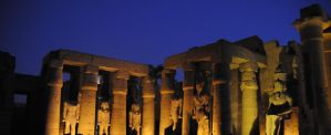 Luxor Temple and Gold Pharoahs by AndySerrano