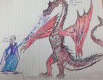 Elsa vs Smaug drawing by Dragonfire810