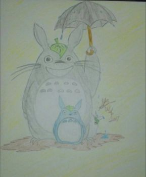 My neighbor Totoro (Colored pencil sketch)  by winged-wolf-tsuki