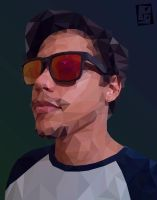 Low-poly self portrait by Ynavoig