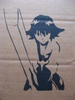 Anime Swordgirl Stencil by moon-glaze
