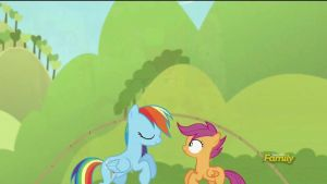Scootaloo and Rainbow Dash rope jumping 1 (Gif) by CMC--Scootaloo