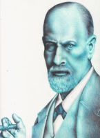Sigmund Freud in blue by the-jabber-wocky