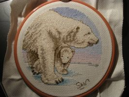 Bear cross stitch Finished by Santian69